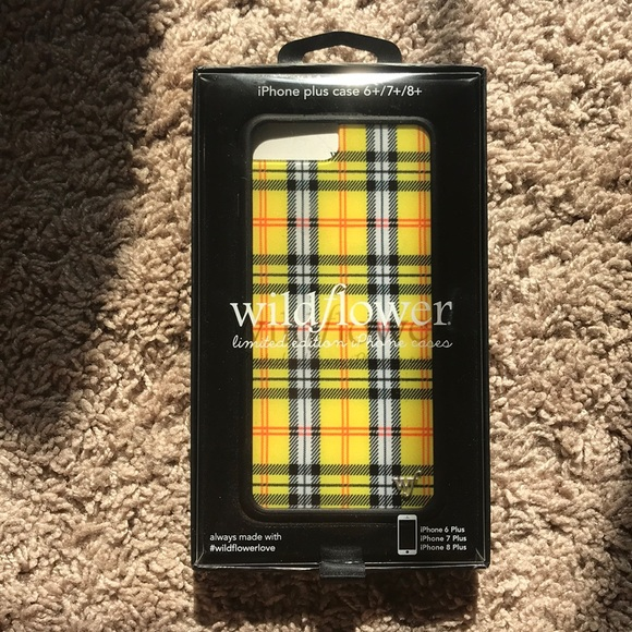 premium selection 935ee b347a Yellow plaid wildflower iPhone 6/7/8 plus case NWT
